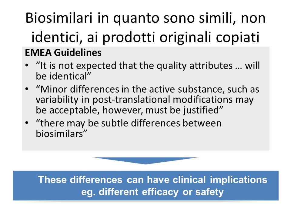 Biosimilari in quanto sono simili, non identici, ai prodotti originali copiati