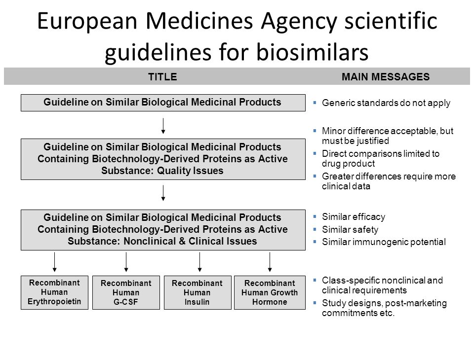 European Medicines Agency scientific guidelines for biosimilars