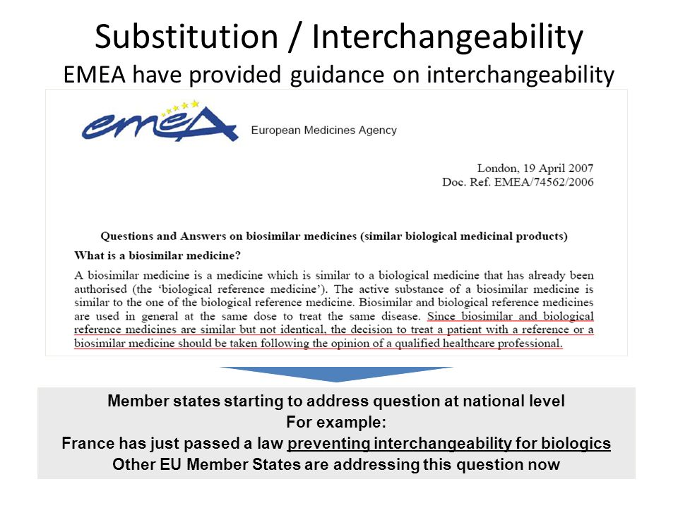 Substitution / Interchangeability EMEA have provided guidance on interchangeability