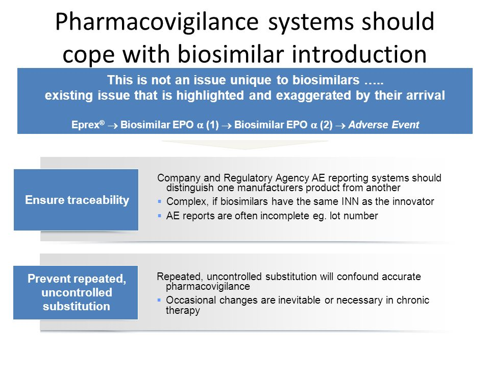 Pharmacovigilance systems should cope with biosimilar introduction