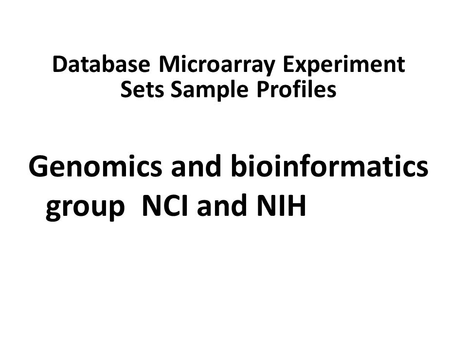 Database Microarray Experiment