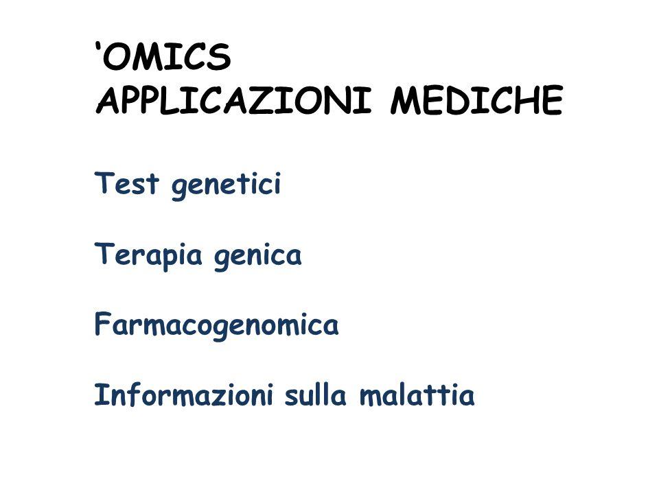 'OMICS APPLICAZIONI MEDICHE Test genetici Terapia genica
