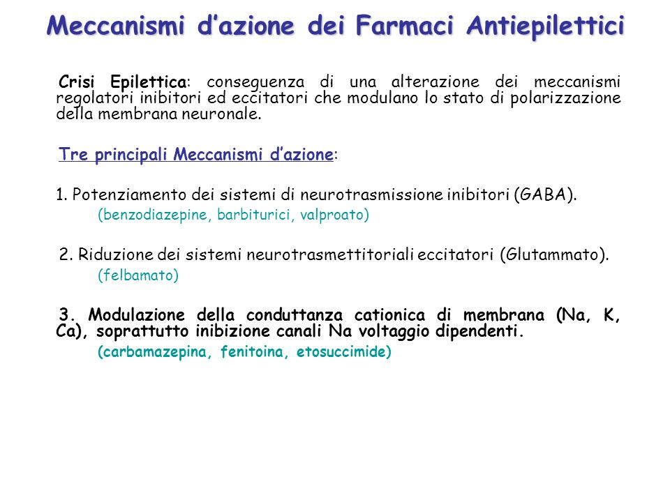 Meccanismi d'azione dei Farmaci Antiepilettici