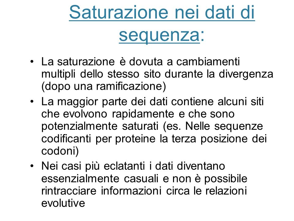 Saturazione nei dati di sequenza: