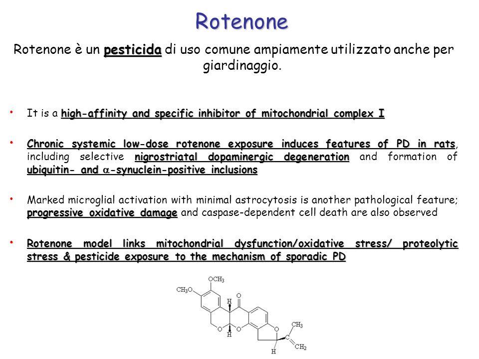 Rotenone Rotenone è un pesticida di uso comune ampiamente utilizzato anche per giardinaggio.