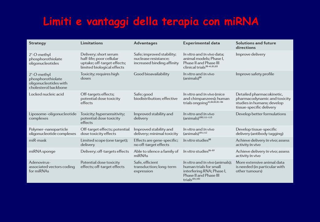 Limiti e vantaggi della terapia con miRNA