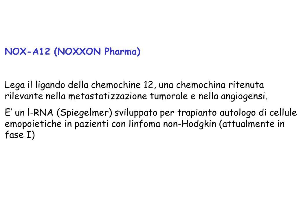 NOX-A12 (NOXXON Pharma) Lega il ligando della chemochine 12, una chemochina ritenuta rilevante nella metastatizzazione tumorale e nella angiogensi.