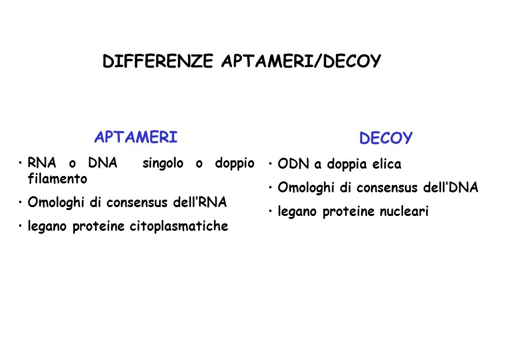 DIFFERENZE APTAMERI/DECOY