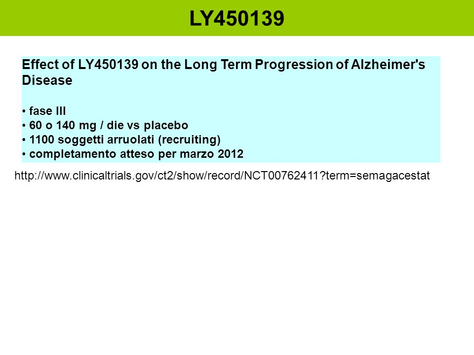 LY450139 Effect of LY450139 on the Long Term Progression of Alzheimer s Disease. fase III. 60 o 140 mg / die vs placebo.