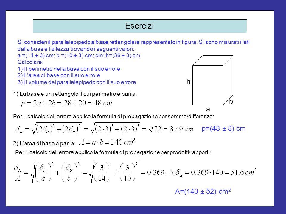Esercizi h b a p=(48 ± 8) cm A=(140 ± 52) cm2