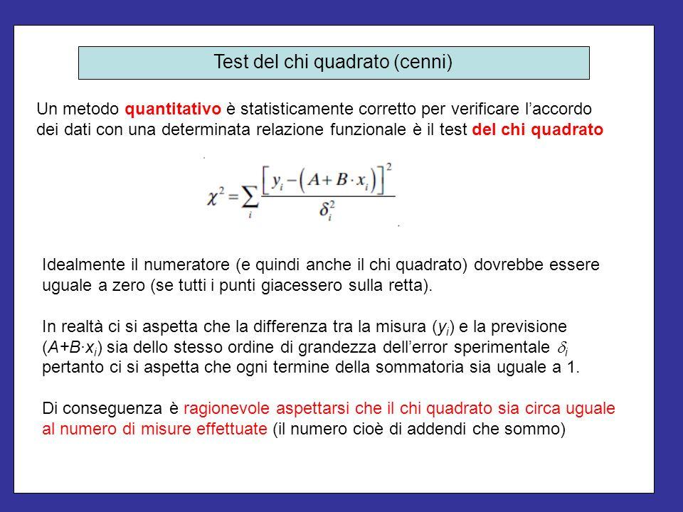 Test del chi quadrato (cenni)