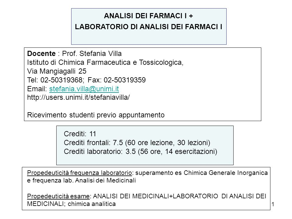 LABORATORIO DI ANALISI DEI FARMACI I