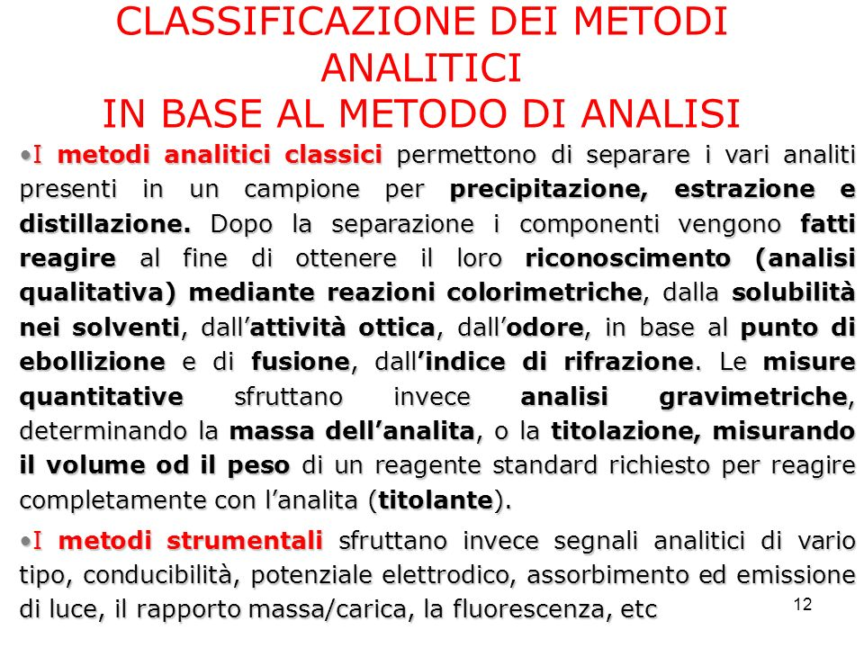 CLASSIFICAZIONE DEI METODI ANALITICI IN BASE AL METODO DI ANALISI