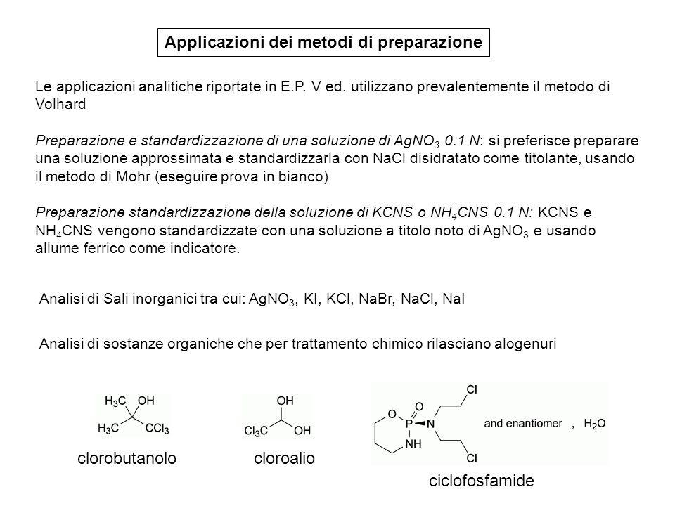Applicazioni dei metodi di preparazione