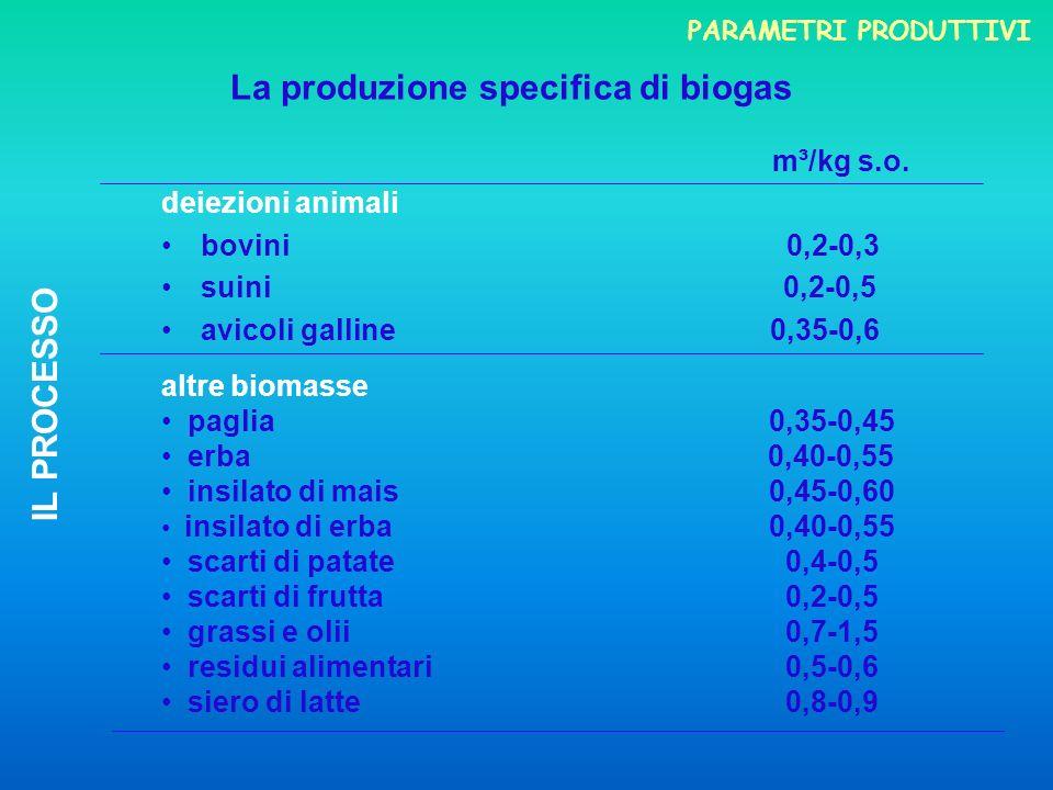 La produzione specifica di biogas