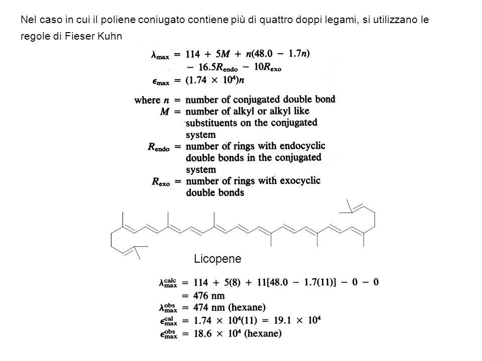 Nel caso in cui il poliene coniugato contiene più di quattro doppi legami, si utilizzano le regole di Fieser Kuhn