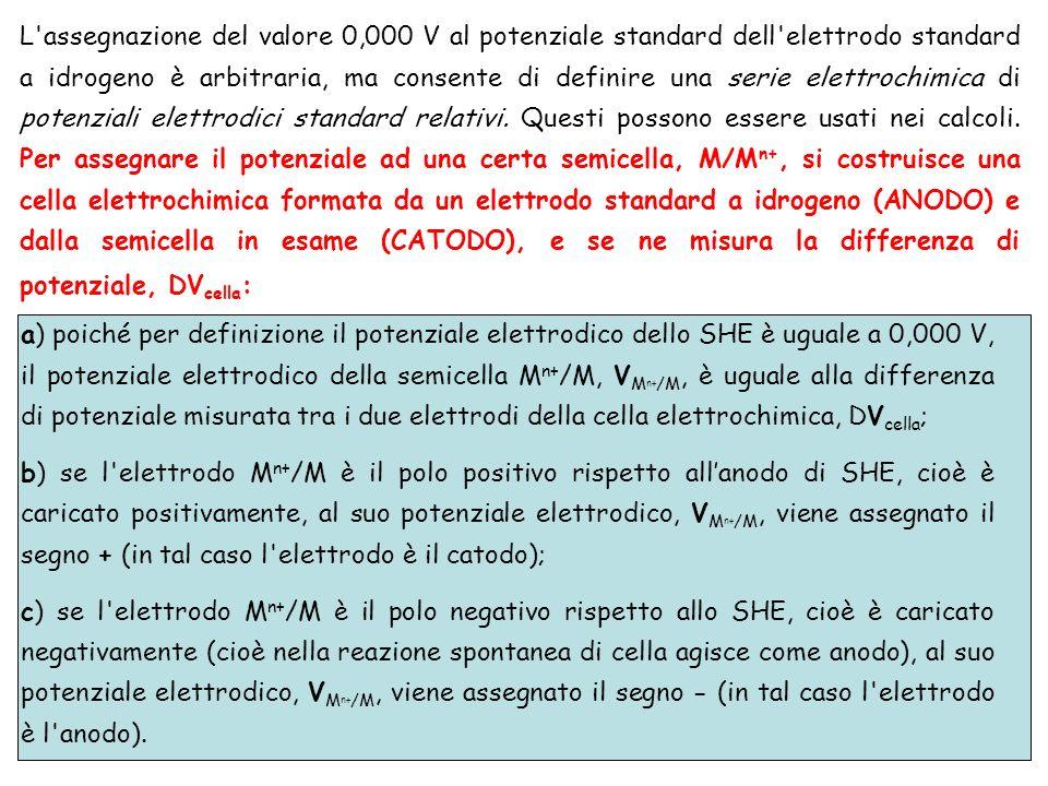 L assegnazione del valore 0,000 V al potenziale standard dell elettrodo standard a idrogeno è arbitraria, ma consente di definire una serie elettrochimica di potenziali elettrodici standard relativi. Questi possono essere usati nei calcoli. Per assegnare il potenziale ad una certa semicella, M/Mn+, si costruisce una cella elettrochimica formata da un elettrodo standard a idrogeno (ANODO) e dalla semicella in esame (CATODO), e se ne misura la differenza di potenziale, DVcella: