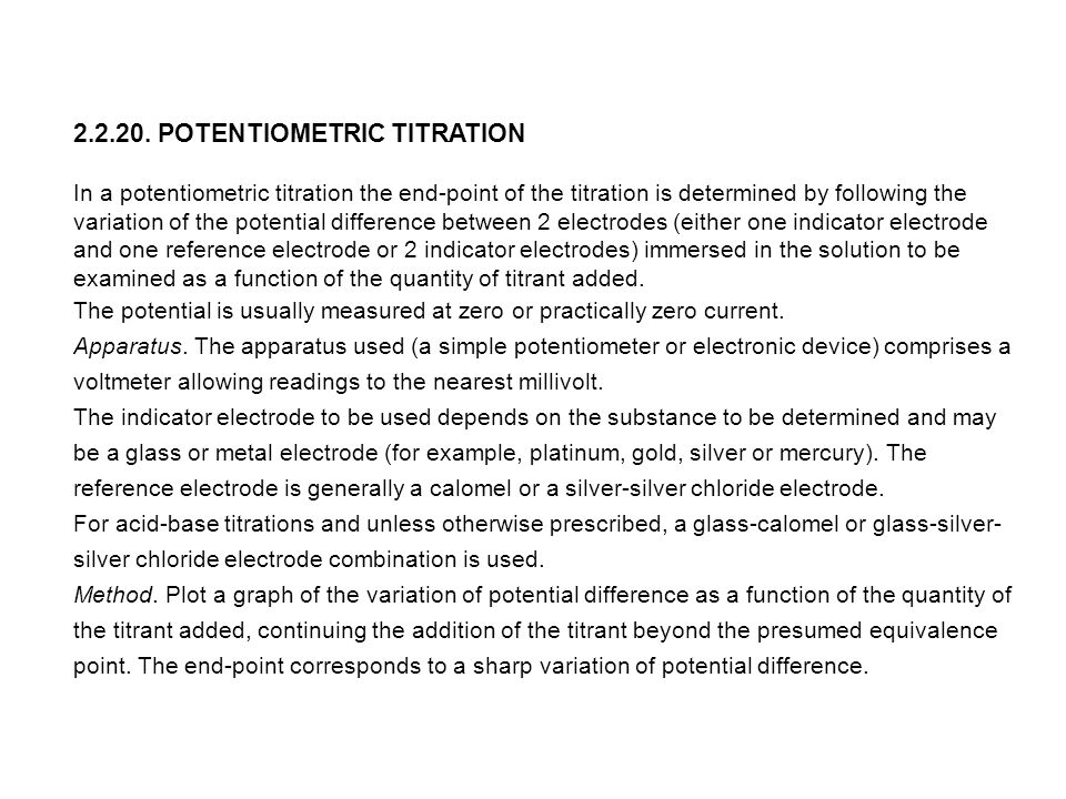 2.2.20. POTENTIOMETRIC TITRATION