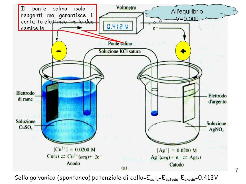 Il ponte salino isola i reagenti ma garantisce il contatto elettrico tra le due semicelle.