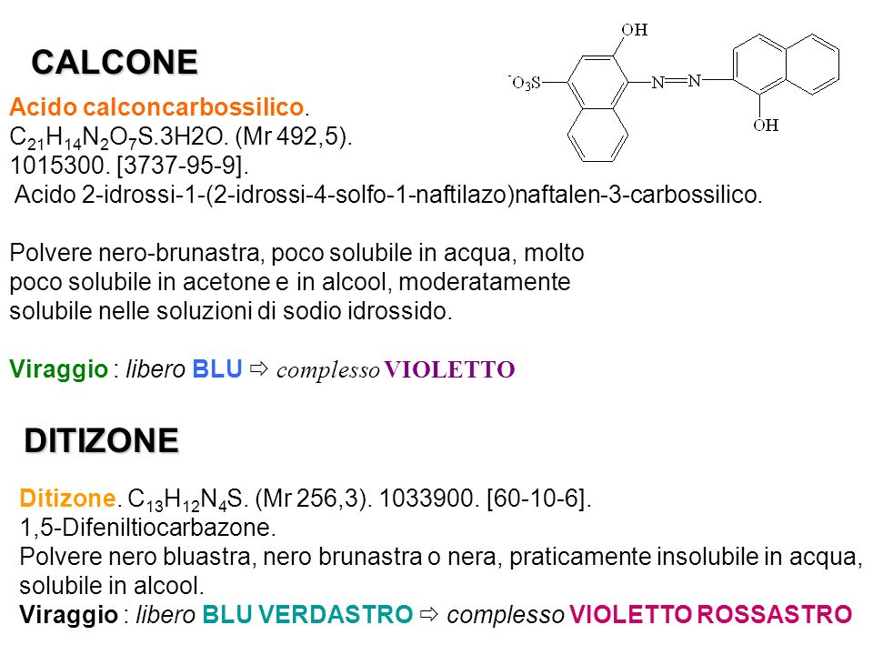 CALCONE DITIZONE Acido calconcarbossilico.