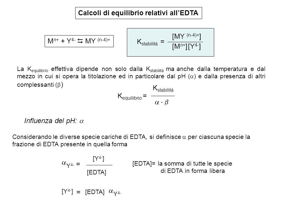 Calcoli di equilibrio relativi all'EDTA