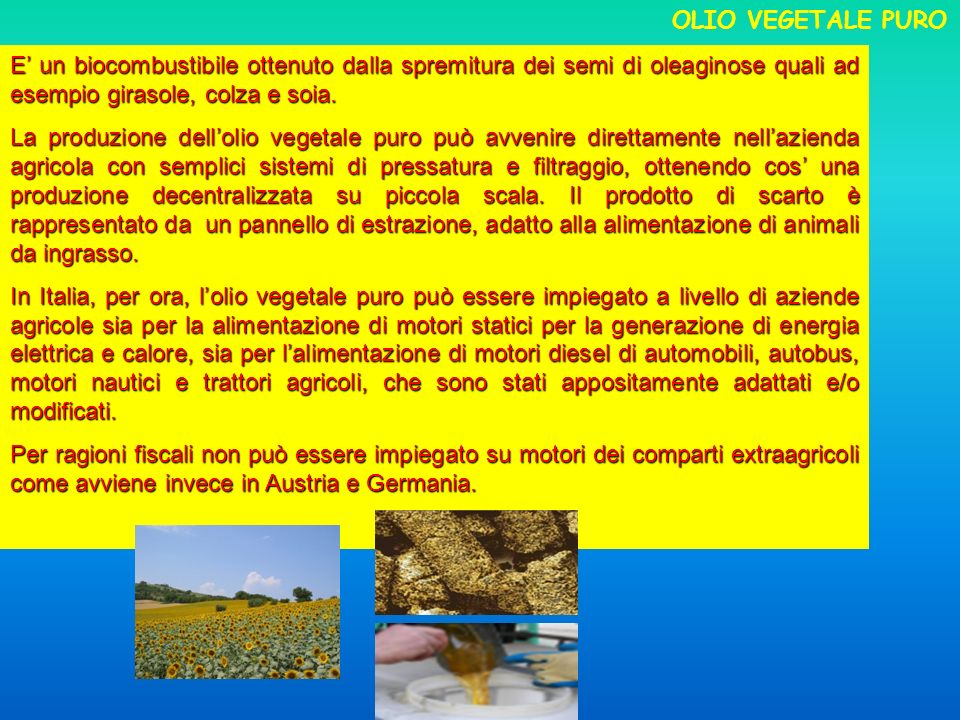 OLIO VEGETALE PURO E' un biocombustibile ottenuto dalla spremitura dei semi di oleaginose quali ad esempio girasole, colza e soia.