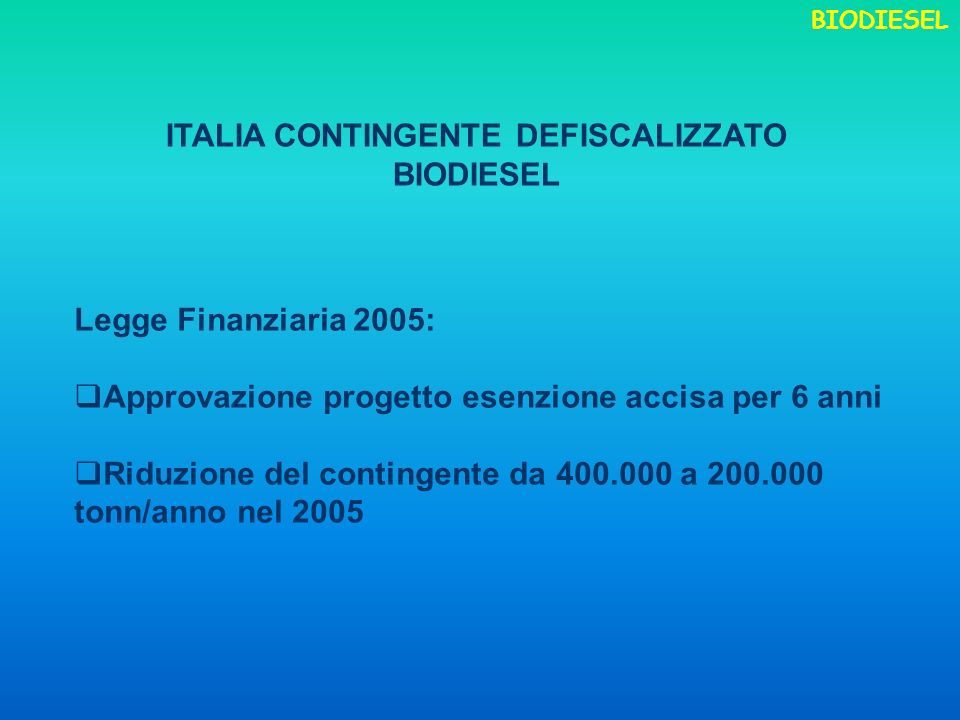 ITALIA CONTINGENTE DEFISCALIZZATO BIODIESEL