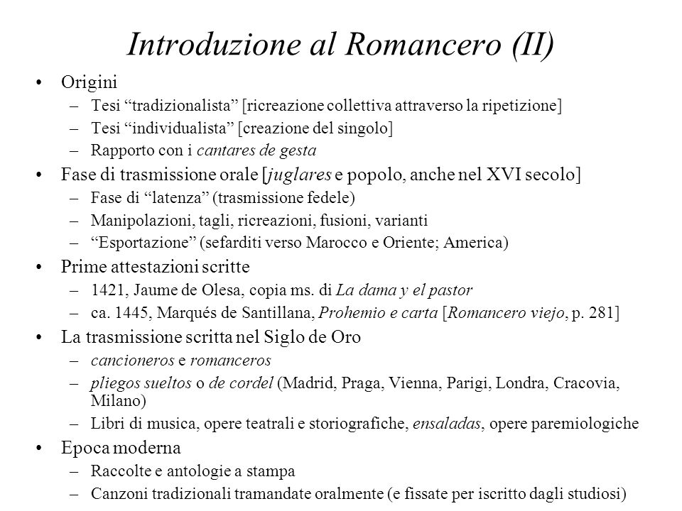 Introduzione al Romancero (II)