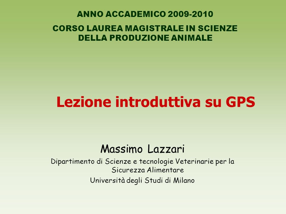Lezione introduttiva su GPS