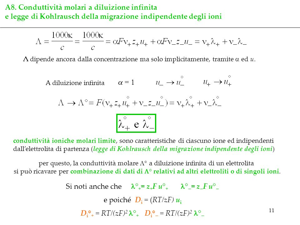 A8. Conduttività molari a diluizione infinita