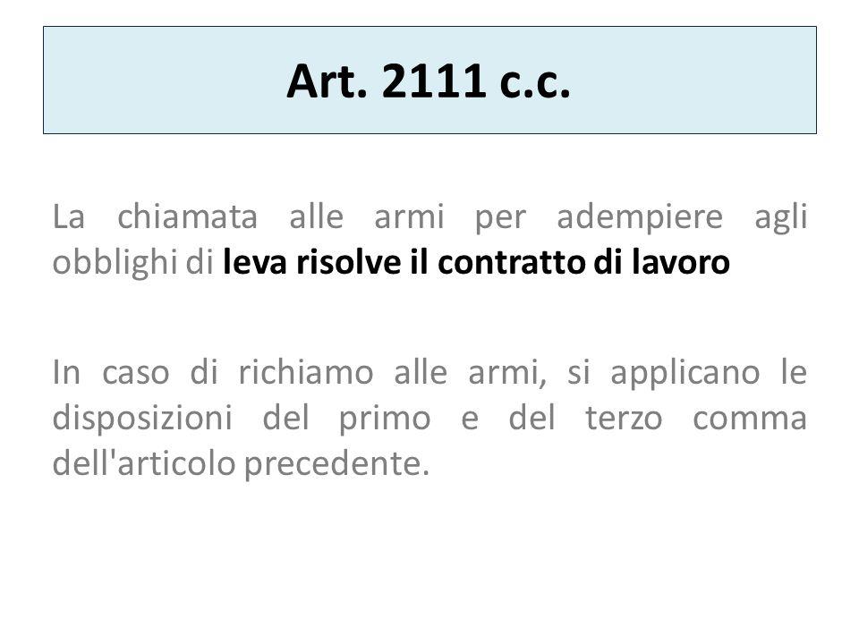 Art. 2111 c.c. La chiamata alle armi per adempiere agli obblighi di leva risolve il contratto di lavoro.