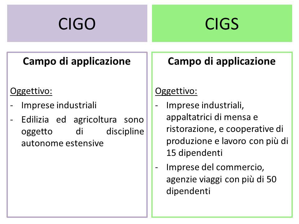 CIGO CIGS Campo di applicazione Campo di applicazione Oggettivo: