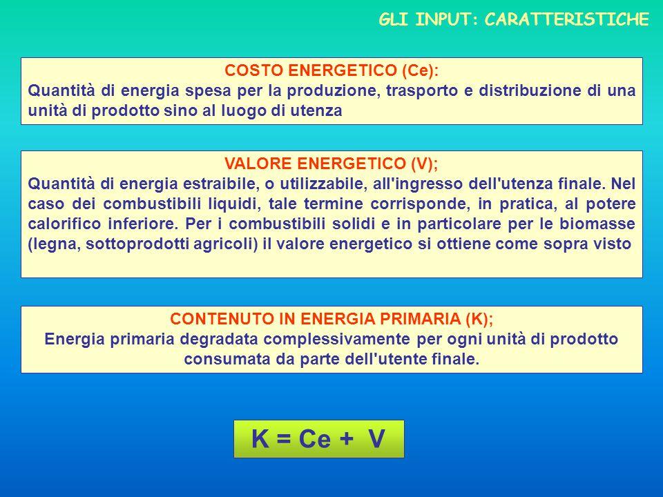 K = Ce + V Gli input: caratteristiche costo energetico (Ce):
