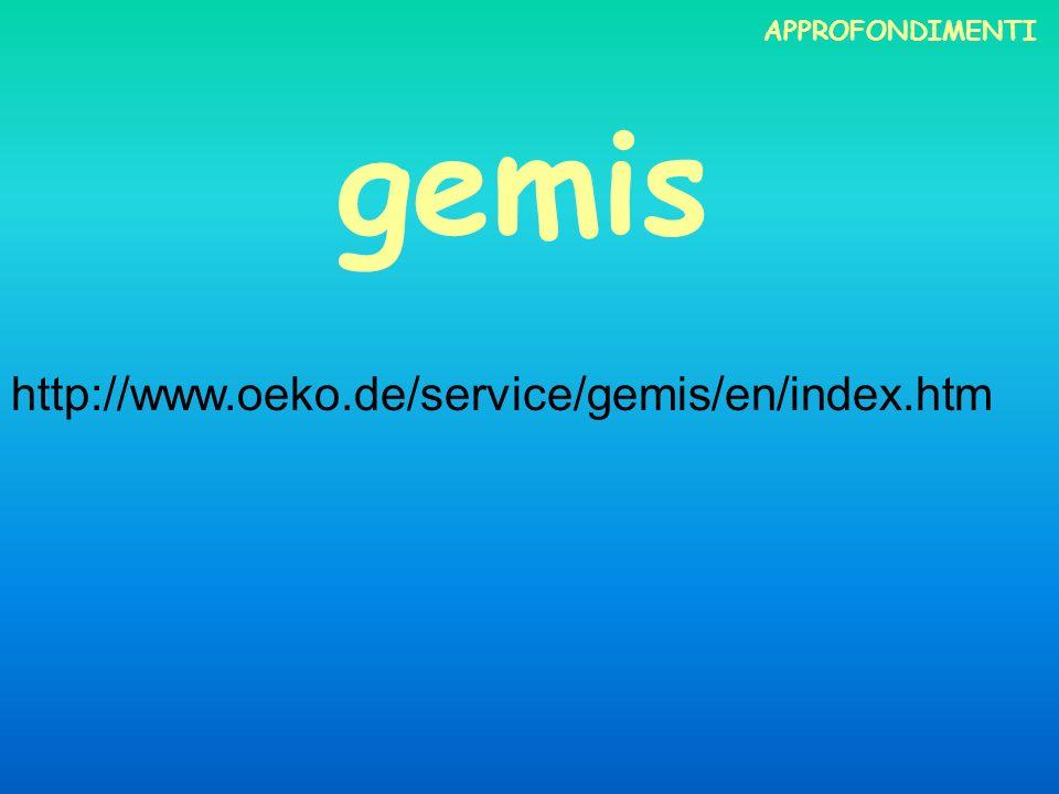 APPROFONDIMENTI gemis http://www.oeko.de/service/gemis/en/index.htm