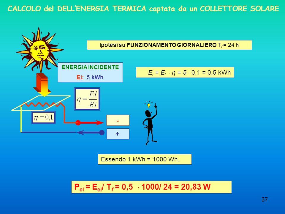CALCOLO del DELL'ENERGIA TERMICA captata da un COLLETTORE SOLARE