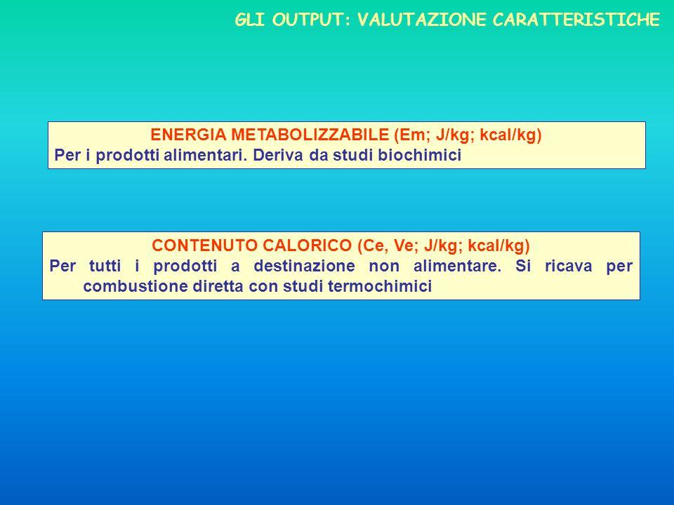 Gli output: valutazione caratteristiche