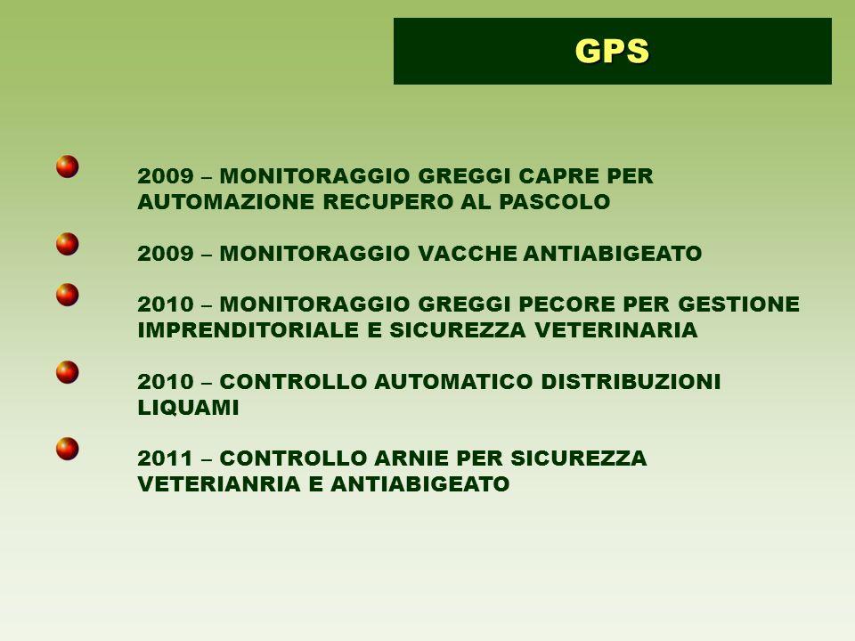 GPS 2009 – MONITORAGGIO GREGGI CAPRE PER AUTOMAZIONE RECUPERO AL PASCOLO. 2009 – MONITORAGGIO VACCHE ANTIABIGEATO.