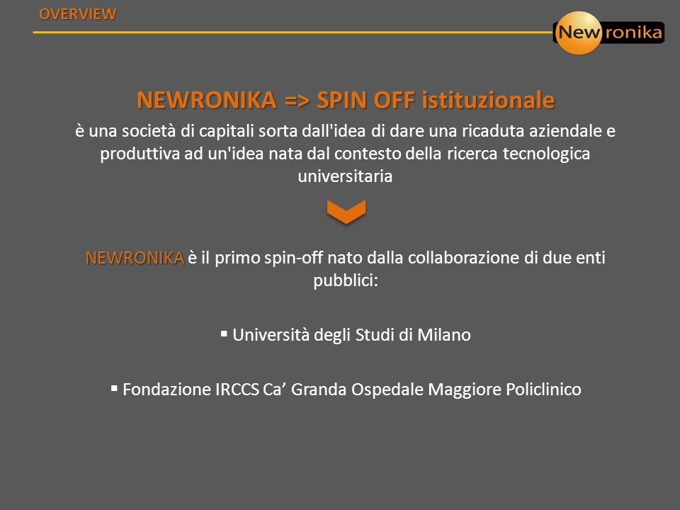NEWRONIKA => SPIN OFF istituzionale