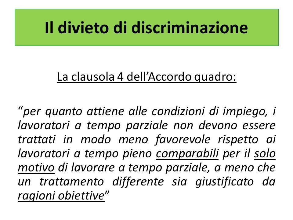 Il divieto di discriminazione