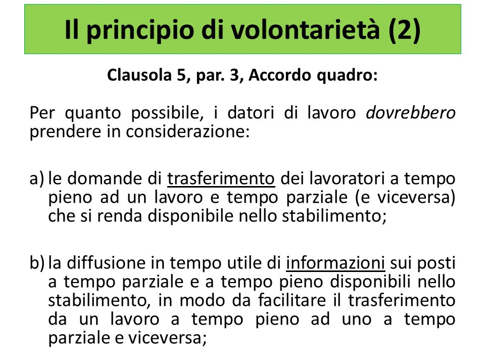 Il principio di volontarietà (2)