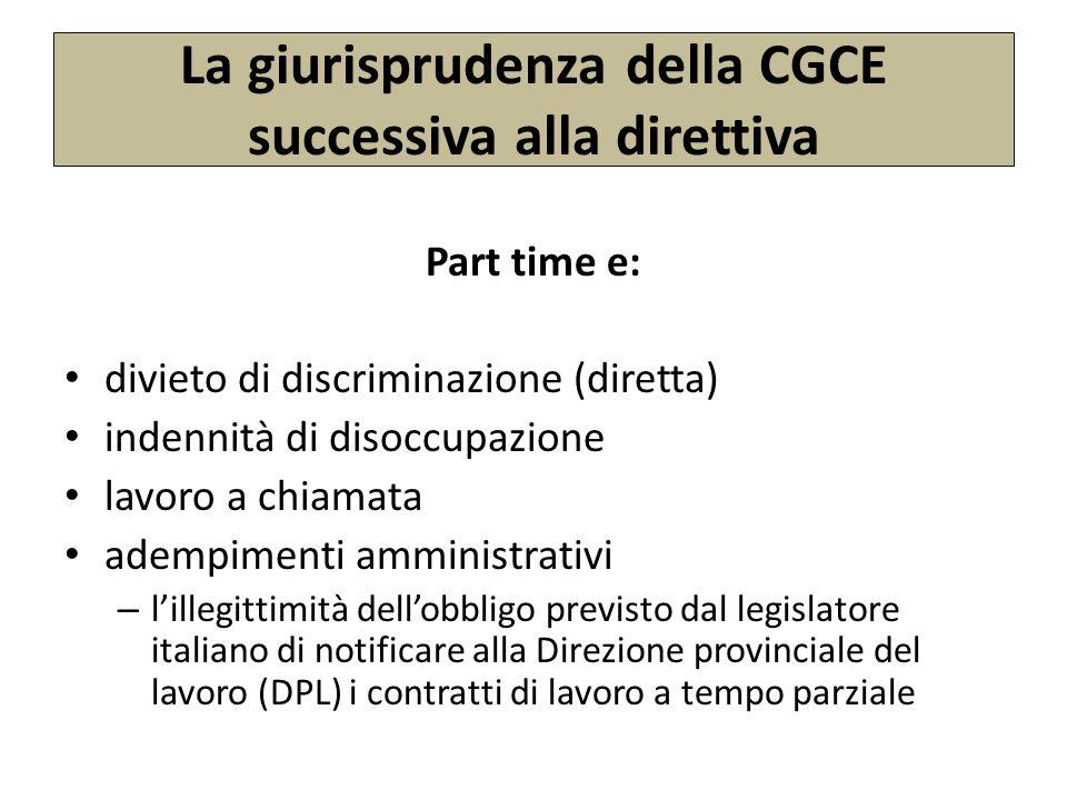 La giurisprudenza della CGCE successiva alla direttiva