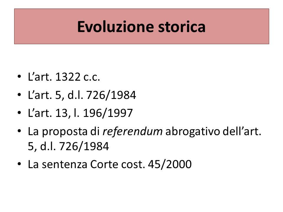 Evoluzione storica L'art. 1322 c.c. L'art. 5, d.l. 726/1984