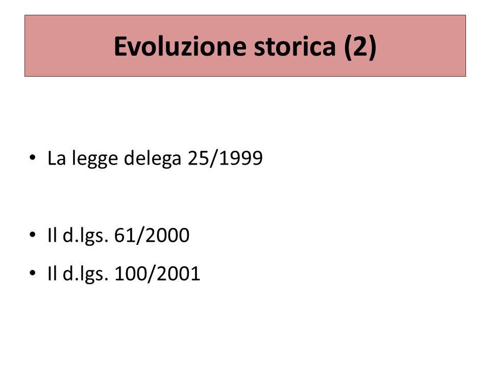 Evoluzione storica (2) La legge delega 25/1999 Il d.lgs. 61/2000