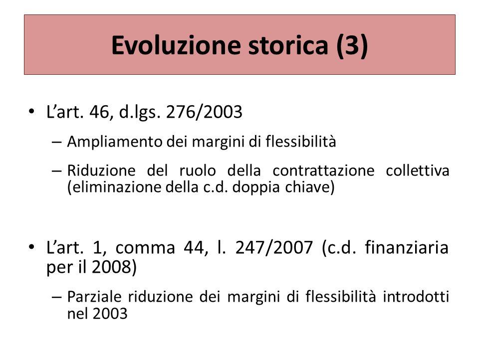 Evoluzione storica (3) L'art. 46, d.lgs. 276/2003