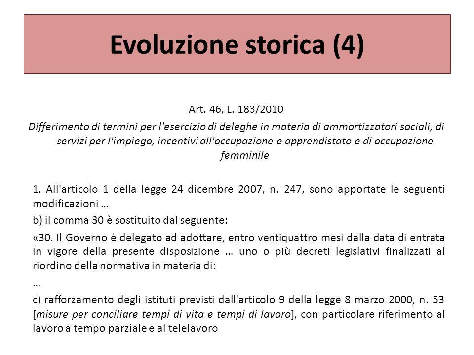 Evoluzione storica (4) Art. 46, L. 183/2010