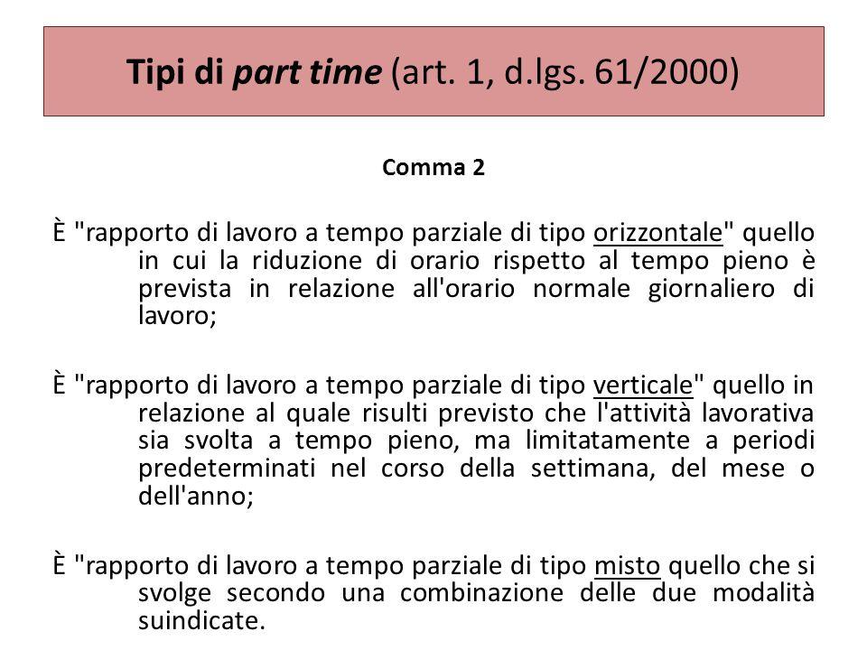Tipi di part time (art. 1, d.lgs. 61/2000)