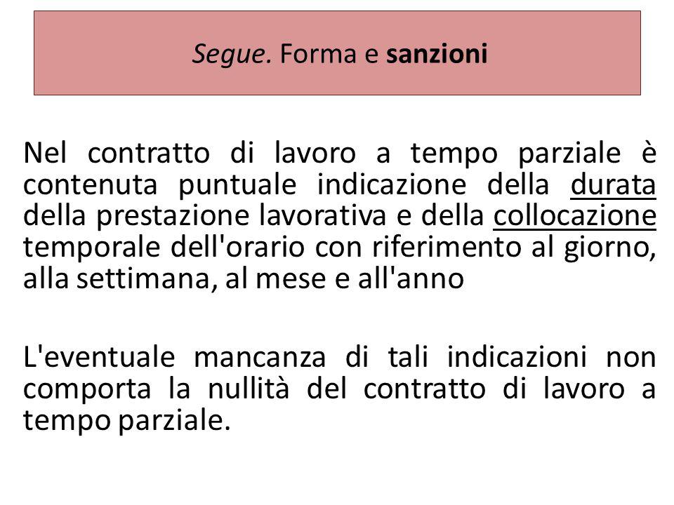 Segue. Forma e sanzioni