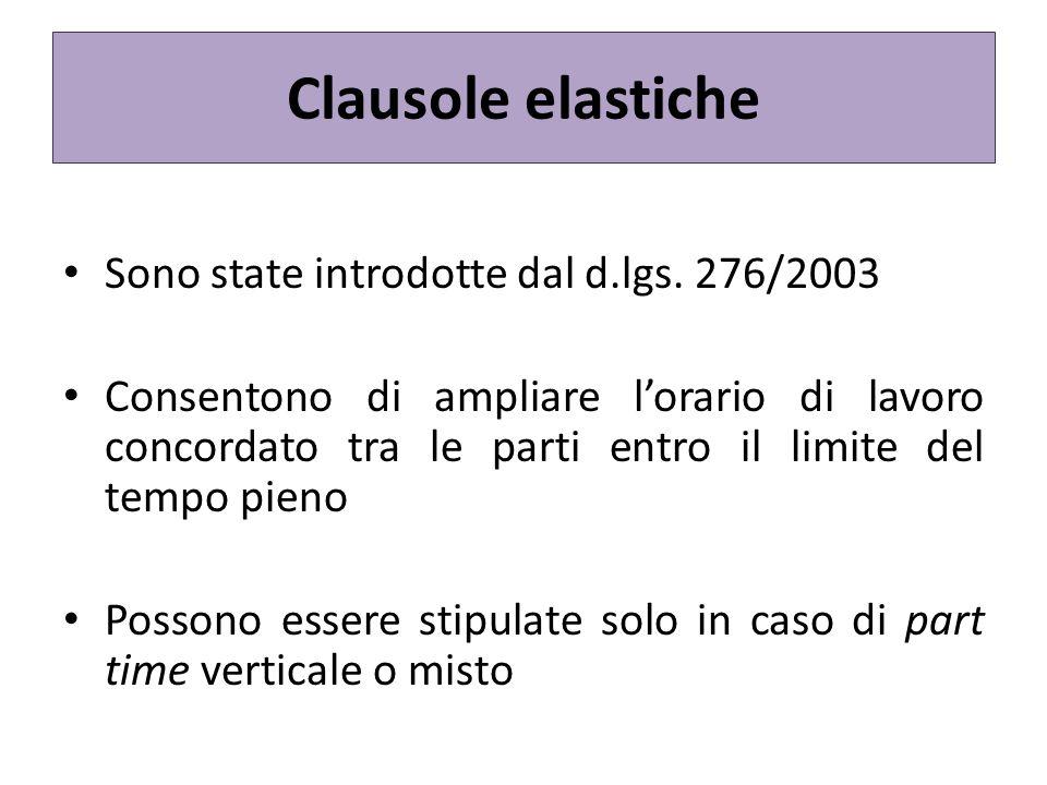 Clausole elastiche Sono state introdotte dal d.lgs. 276/2003