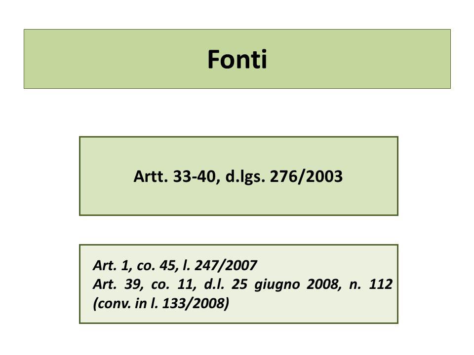 Fonti Artt. 33-40, d.lgs. 276/2003 Art. 1, co. 45, l. 247/2007