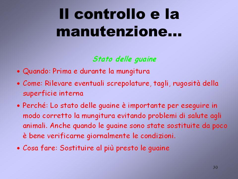 Il controllo e la manutenzione…